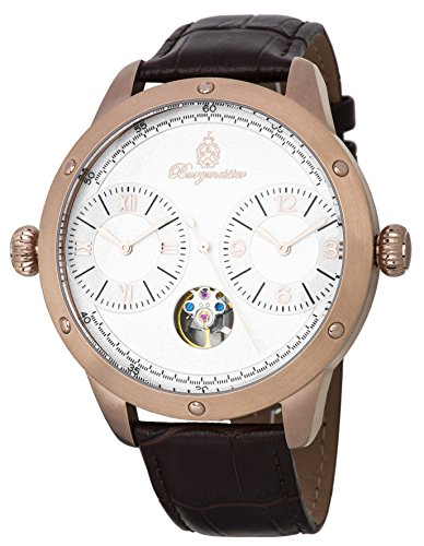 Burgmeister Men's Automatic Stainless Steel and Leather Casual Watch, Color:Brown (Model: BM233-385)