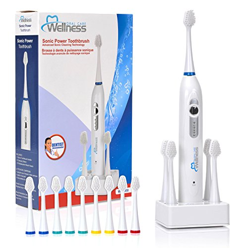 Wellness Oral Care Sonic Power Rechargeable Toothbrush with 10 Replacement Brush Heads and Countertop Charging Base (WE2000)