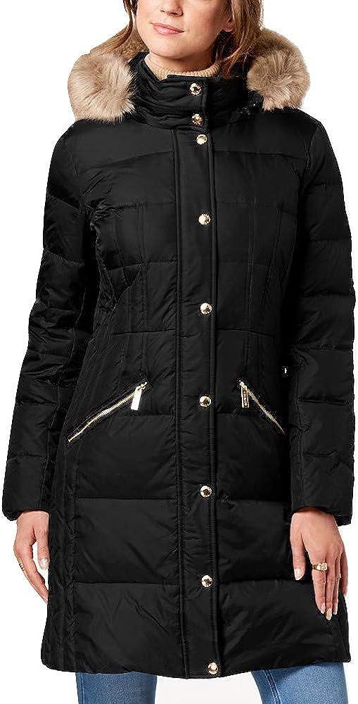 Michael Kors Down Coat with Fur Hood (Small, Black)