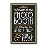 PERFECT PHOTO BOOTH PROP SIGN WITH EASEL BACKER STAND, Great for DIY Photo Booth, Grab A Prop Strike A Pose Photo Booth Sign, Great for wedding, birthday, holiday events and more!