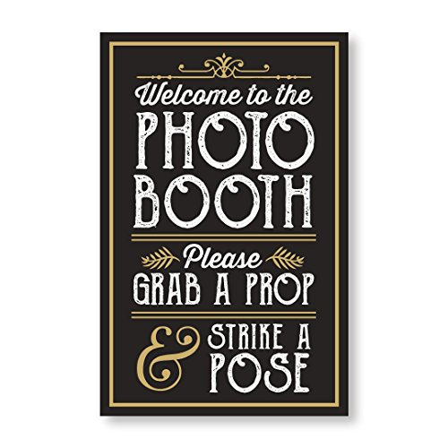 PERFECT PHOTO BOOTH PROP SIGN WITH EASEL BACKER STAND, Great for DIY Photo Booth, Grab A Prop Strike A Pose Photo Booth Sign, Great for wedding, birthday, holiday events and more! (Photo Sign Booth)