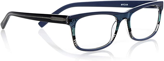 1.25 Magnification Blue Tortoise Stripes and Blue Tortoise eyebobs Hung Jury Unisex Premium Reading Glasses