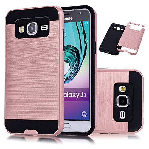 Galaxy J3 Case, J3 Case, Express Prime Case, Amp Prime Case,Kmall [Metal Brushed Texture] Heavy Duty Hybrid Dual Layer Full-Body Shockproof Protective Cover Shell For Samsung Galaxy J3 J320[Rose Gold]