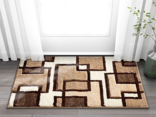 Uptown Squares Ivory Brown Modern Geometric Comfy Casual Han