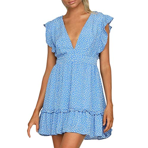 Go-First Ladies Summer Fashion Dress Joker Slim V-Neck Solid Color Dress Sexy Comfortable Casual Dress (Color : Blue, Size : ()