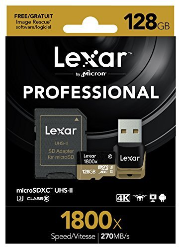 Lexar professional 1800x 64gb microsdxc uhs-ii card (lsdmi64gcbna1800a) 3 high-speed performance—leverages uhs-ii technology (u3) for a read transfer speed up to 270mb/s (1800x) premium memory solution for sports camcorders, tablets, and smartphones designed for high-speed capture of high-quality images and extended lengths of 1080p full-hd, 3d, and 4k video