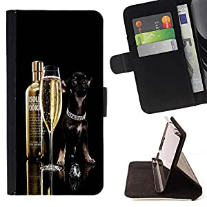 DEVIL CASE - FOR Samsung Galaxy Note 4 IV - Funny Absolute Dog Chihuahua - Style PU Leather Case Wallet Flip Stand Flap Closure Cover
