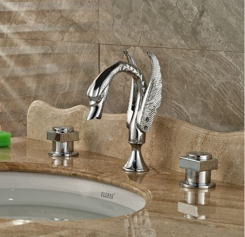 Gowe Deck Mounted Chrome Finish Tub Faucet Bathroom Vessel Sink Tap Hot&Cold Faucet 0
