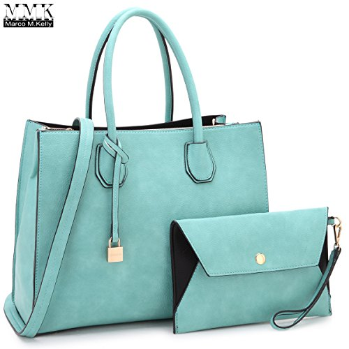 Women Fashion Handbag Matching wallet~Classic Women Satchel Tote Bag Shoulder Bags~Signature Women Designer Purse~Perfect Women Satchel handbag with Spring colors (FN-23-7661-BLUE)