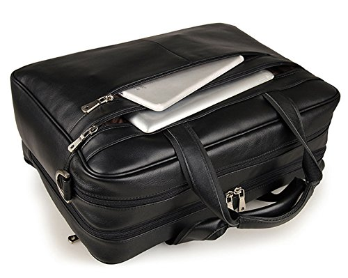 17-inch Leather Laptop Bag, Berchirly Large Lawyer Brifecase Man Computer File Bag Business Totes Black by Berchirly (Image #3)