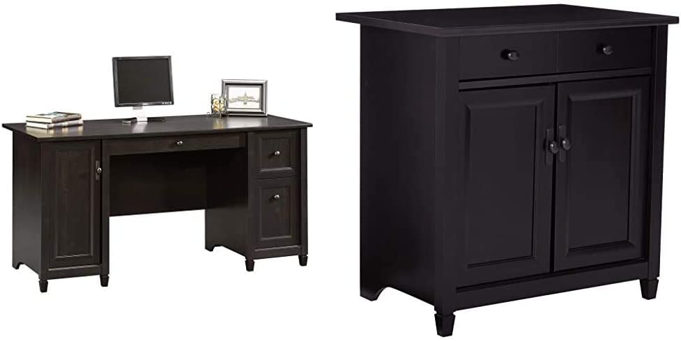 "Sauder Edge Water Computer Desk, Estate Black Finish & Edge Water Utility Cart/Stand, L: 28.19""; x W: 19.45""; x H: 29.02"", Estate Black Finish"