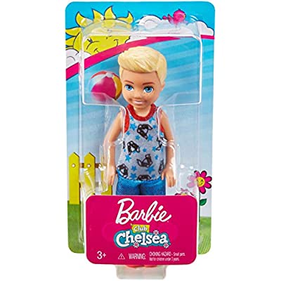 Barbie Club Chelsea Doll, 6-Inch Blonde Boy Doll Wearing Puppy-Themed Romper, for 3 to 7 Year Olds: Toys & Games