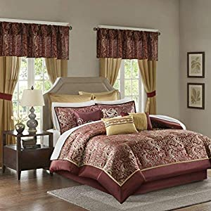 Madison Park Essentials Brystol Queen Size Bed Comforter Set Room in A Bag - Red, Gold, Jacquard Embroidered Paisley – 24 Pieces Bedding Sets – Faux Silk Bedroom Comforters