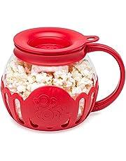 Ecolution Original Microwave Micro-Pop Popcorn Popper, Borosilicate Glass, 3-in-1 Silicone Lid, Dishwasher Safe, BPA Free, 1.5 Quart - Snack Size, Red