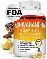 Organic Ashwagandha Root Powder Pills with Black Pepper Extract - 1950 Mg Pure Organic Ashwagandha Complex, Mood & Energy...