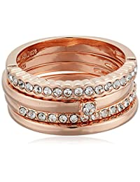 Rose Gold Plated Sterling Silver White Swarovski Crystal 4 Piece Stacking Ring, Size 7