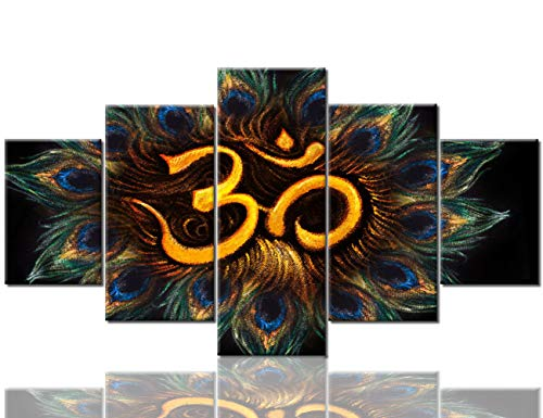 Mookou 5 Piece Canvas Wall Art Sacred Aum Sanskrit Symbol Pictures Buddism Paintings for Living Room Circle of Peacock Feathers Artwork Home Decor Framed Ready to Hang Posters and Prints(60''Wx32''H)