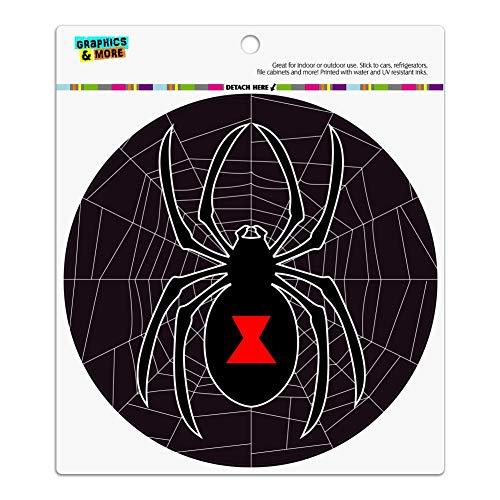 GRAPHICS & MORE Black Widow Spider on Web Automotive Car Refrigerator Locker Vinyl Circle Magnet ()
