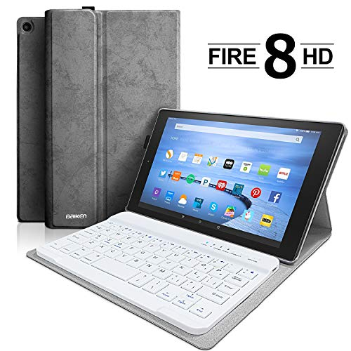 Keyboard Case for Amazon Fire HD 8 (7th and 8th Gen, 2017 and 2018 Releases),Fire HD 8 Tablet Case with Detachable Wireless Bluetooth Keyboard