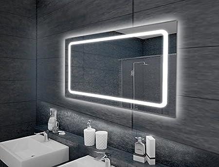 'Specchio da parete specchio da bagno illuminato LED modello Eustath 100x 65cm [Classe di efficienza energetica A+] Oramics