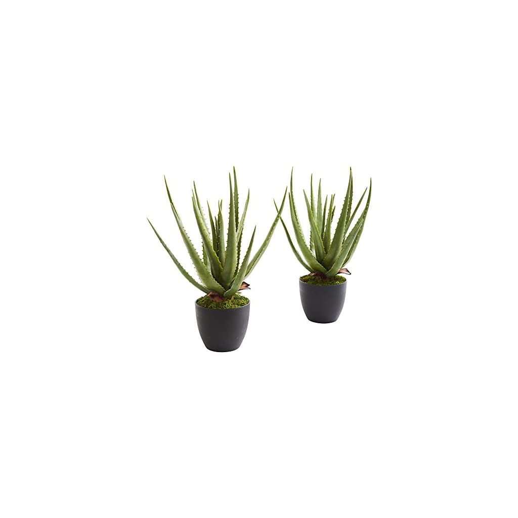 Nearly-Natural-6352-S2-Aloe-Artificial-Set-of-2-Silk-Plants-Green