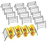 Taco Holder, Aiduy 4 Pack Taco Stand Premium Stainless Steel Taco Rack Plate Taco Truck Tray with Rubber Tips Oven Microwave Safe for Baking Soft and Hard Shell, Holds 14 to 18 Tacos