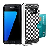 Galaxy S7 Edge Case, DuroCase Hybrid Dual Layer Slim Armor Credit Card Slot Case White for Samsung Galaxy S7-Edge SM-G935 (Released in 2016) - (Black White Checker)