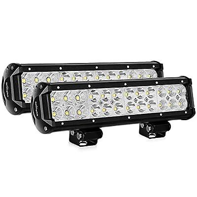 Nilight LED Light Bar 2PCS 12 Inch 72W Spot Flood Combo LED Off Road Lights Driving Lights Fog Lights Jeep Lights LED Work Light , 2 Years Warranty