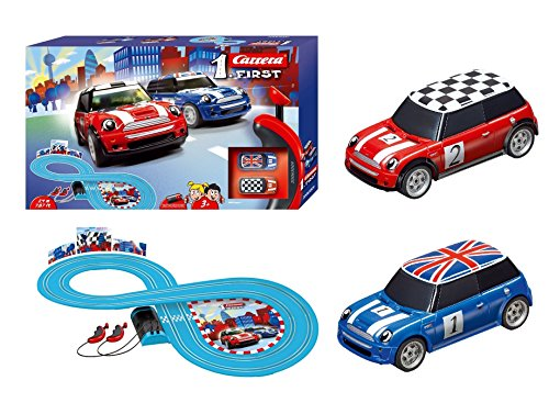 (Carrera First Mini Cooper Slot Car Race Track - Includes 2 Cars: Blue and Red Mini Cooper and Two-Controllers - Battery-Powered Beginner Set for Kids Ages 3 Years and Up)