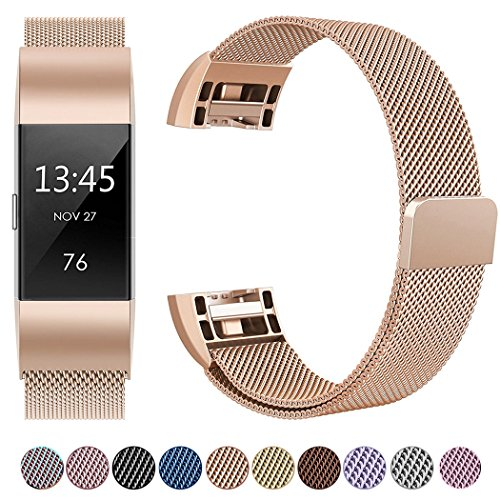 GEAK Fitbit Charge 2 Bands Metal,Milanese Loop Stainless Steel Replacement Accessories Magnetic Metal Large Bands for Fitbit Charge2 Rose Gold