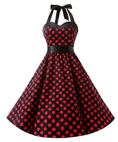 DRESSTELLS 50s Retro Halter Rockabilly Polka Dots Audrey Dress Cocktail Dress Black Red Dot -