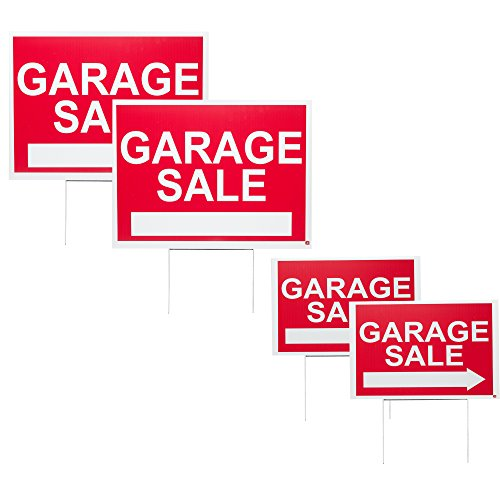 WDS Premium Garage Sale Signs Pack With Stakes - 4 Pack Garage Sale Sign Kit for Street - (2) 12