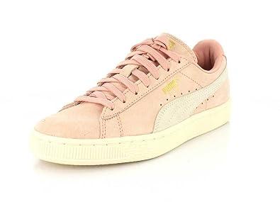 PUMA Women's Suede Classic Shine Sneakers, Coral Cloud/Whisper White, 5.5 B(
