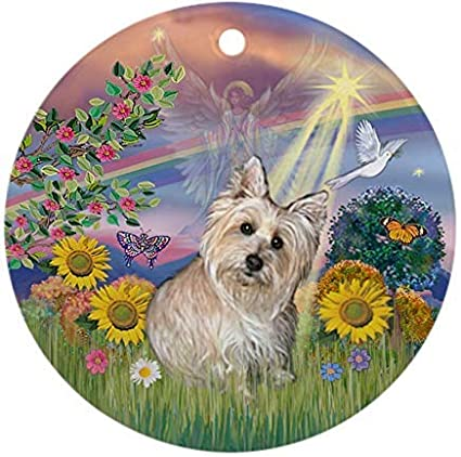 Kysd43Mill Cloud Angel-Wheaten Cairn Terrier Christmas Ornaments Round Novelty Ceramic Christmas Tree Decoration Ornament Gifts for Friends,for Family