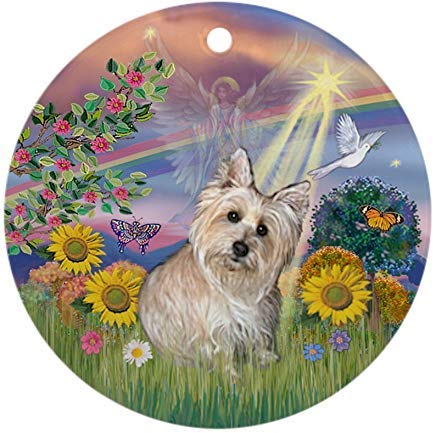 Voicpobo Cloud Angel-Wheaten Cairn Terrier Christmas Ornaments Round Novelty Ceramic Christmas Tree Decoration Ornament Gifts for Friends,for Family