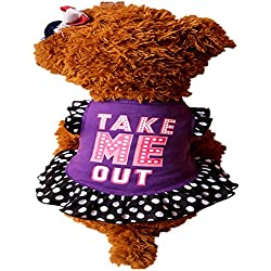 WEUIE Big Promotion! Puppy Clothes Summer Cute Pet Puppy Small Dog Cat Pet Dress Apparel Clothes Fly Sleeve Dress (M, Purple)