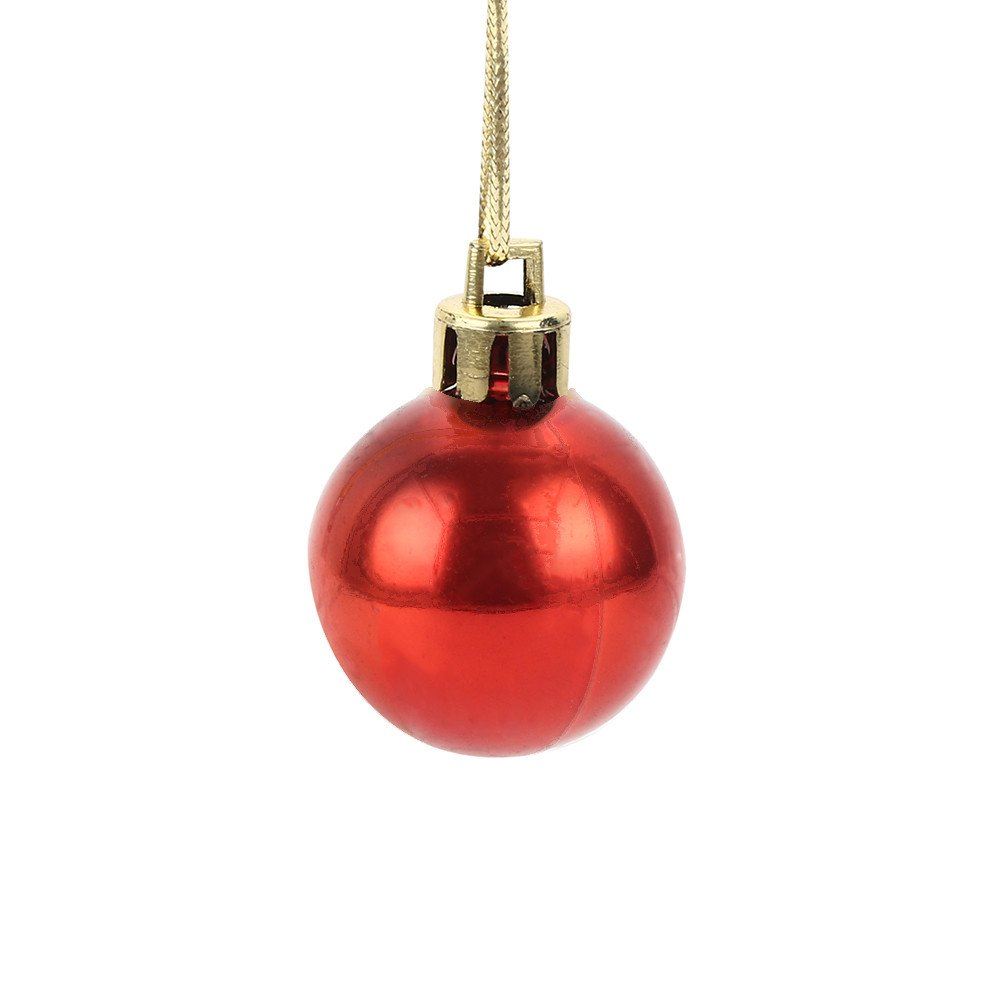HOLD+HIGH 30mm Christmas Xmas Tree Ball Bauble Hanging Home Party Ornament Decor (Pack of 12) (Red)