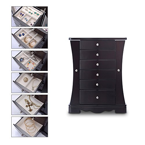 HERITAGE moderner Holz Schmuckkasten, Espresso Schmuckschatulle Speicherorganisator -