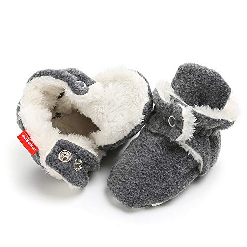 (Tutoo Toddler Unisex Baby Boys Girls Slippers Fleece Plush Ankle Booties Grippers Newborn Infant Cotton Socks Soft Anti Slip Bottom (6-12 Months M US Infant, A Plush-Dark Grey))