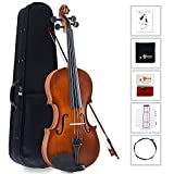 Violin 4/4 Full Size Handcrafted Vintage Violin with Case, Rosin, Finger Sticker & Polishing Cloth