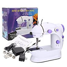 Ocean Star® Sewing Machine Mini Household Portable Double Speed Electric Sewing Machine Durable Convenient And Quick (White)