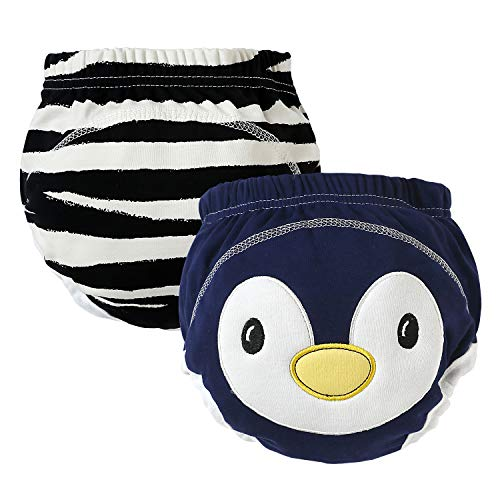 YICHAOYILIANG Baby Training Pants 2 Pack Padded Toddler Potty Training Underwear for Boys and Girls-12M-2T (Cute Penguin, 18 Months for BB 24-31(lb))