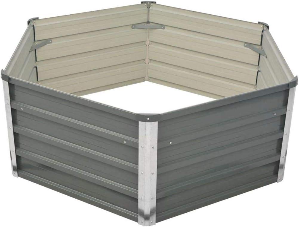 L x B x H yorten Metall Hochbeet Gartenbeet Pflanzk/übel aus Verzinkter Stahl Sechseckigen Form Grau 129 x 129 x 46 cm f/ür Terrasse Balkon