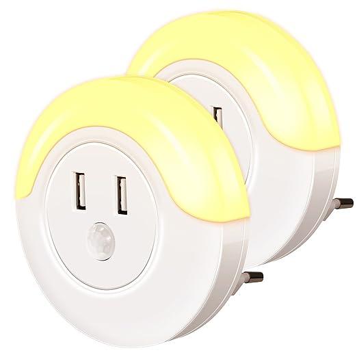 Nachtlicht mit Bewegungsmelder, Emotionlite 2 Ports LED Bernstein USB Ladegerät Nachtlicht Steckdose, Bewegungssensor, Lichts