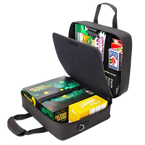 USA Gear Board Game Carrying Case Bag with Custom Storage Compartments and Padded Shoulder Strap - Store Your Favorite Games Like Settlers of Catan, Risk, Cards Against Humanity and More