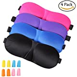 Sleep Mask ,4 Pack Lightweight & Comfortable Super Soft With 4 Pack Ear Plugs Adjustable 3D Contoured Eye Masks for Sleeping, Travel, Shift Work, Naps, Night Blindfold Eyeshade for Men Women