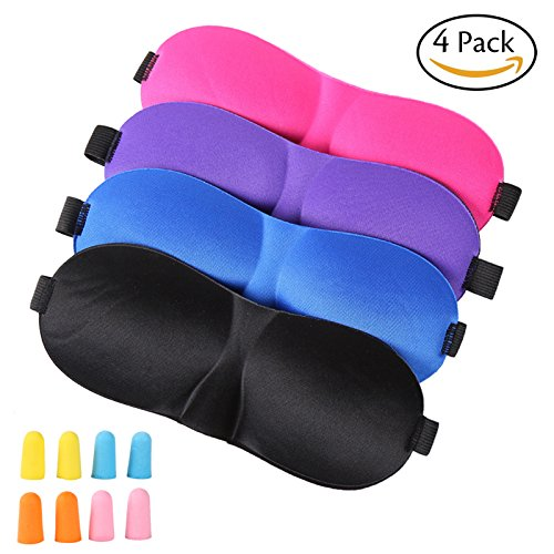 Sleep Mask,4 Pack Lightweight & Comfortable Super Soft with