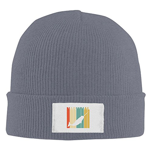 Vintage Style Narwhal Silhouette Elastic Rib Knit Beanie Hats - Usps Time Deliver To