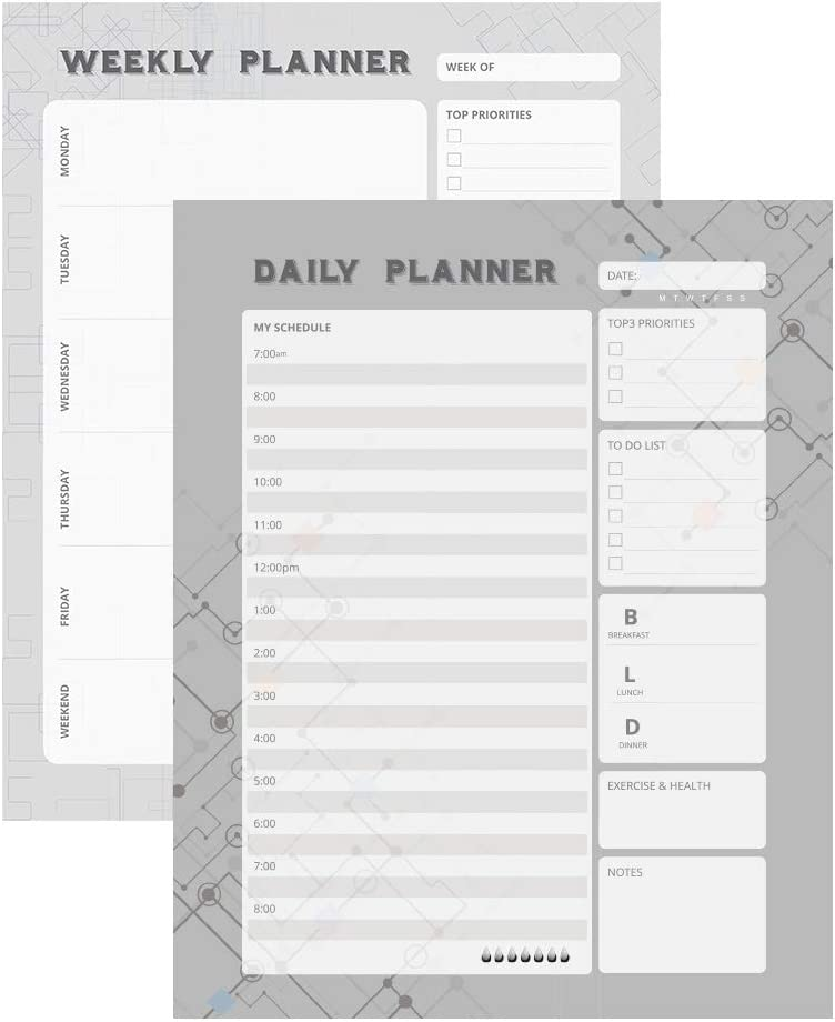 1 Pack Daily Planner Pad + 1 Pack Weekly Planner Pad (8 x11 in, 50 Sheets/Pack, 100 Sheets In All, 120 GSM)