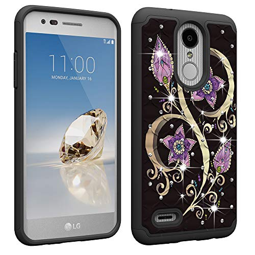 LG Aristo 2 Case,LG Zone 4/Fortune 2/Tribute Dynasty/Risio 3 Luxury Glitter Sparkle Bling Case,Studded Rhinestone Crystal Hybrid Dual Layer Armor Case for LG K8 2018 Floral Purple Flower
